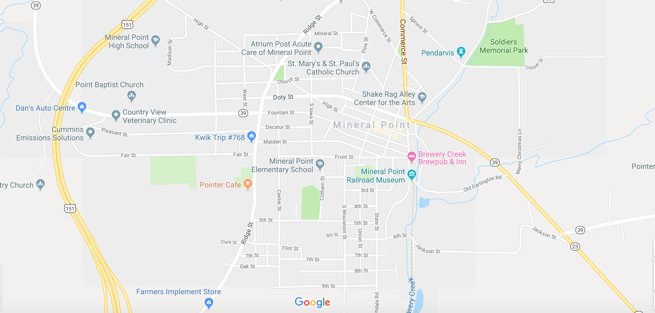 Map of Mineral Point, WI